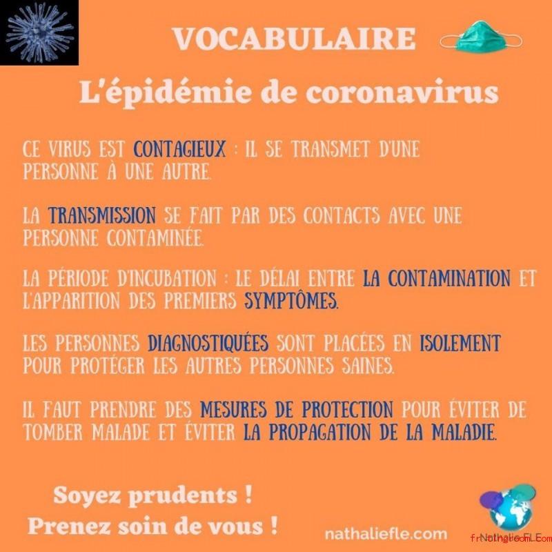 Vocabulaire-L'épidé,ie de coronavirus