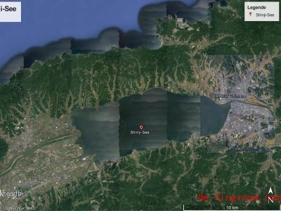 Dieses Bild zeigt den See Shinji. Dort untersuchten Wissenschaftler die Tiere im Wasser. Foto: Google/dpa