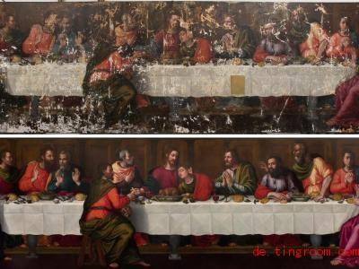 Oben sieht man, wie kaputt das fast 500 Jahre alte Gemälde war. Nun wurde es erneuert. Foto: Rabatti & Domingie/Advancing Women Artists/dpa