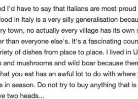 意大利人最引以为豪的就是他们的饮食