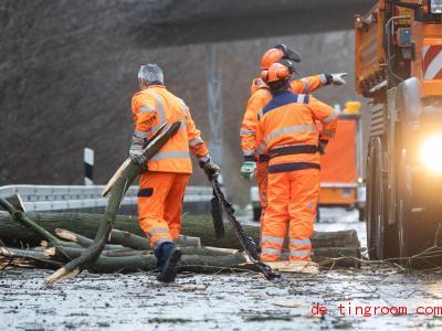 Ganz schön viel Arbeit, umgestürzte Bäume von der Autobahn zu schaffen. Foto: Julian Stratenschulte/dpa