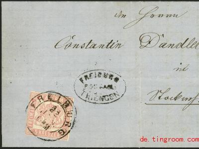 Bei dieser Briefmarke fehlen die Zacken an den Rändern. Sie ist deswegen selten und wertvoll. Foto: Heinrich Köhler/Auktio<em></em>nshaus Köhler/dpa