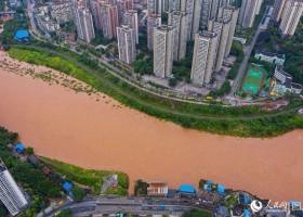 Inundações atingem rio Qijiang de Chongqing 洪水袭击重庆河綦江