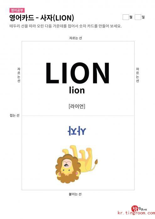 영어카드 - 사자(LION)